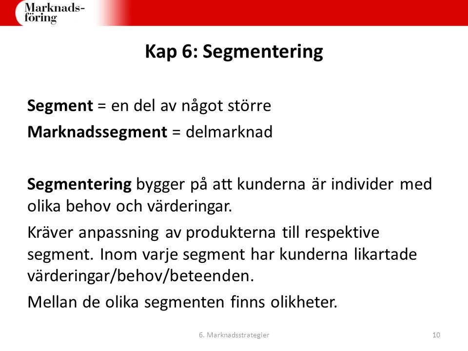 Kap 6: Segmentering Segment = en del av något större