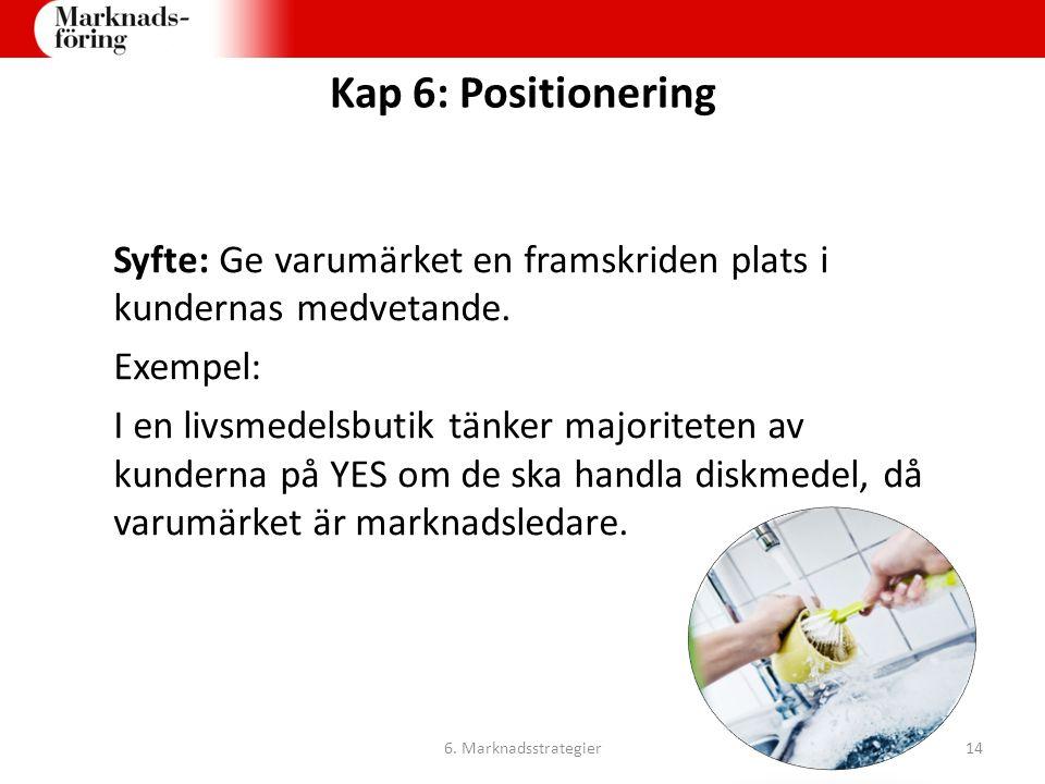 Kap 6: Positionering Syfte: Ge varumärket en framskriden plats i kundernas medvetande. Exempel:
