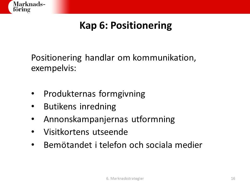 Kap 6: Positionering Positionering handlar om kommunikation, exempelvis: Produkternas formgivning.