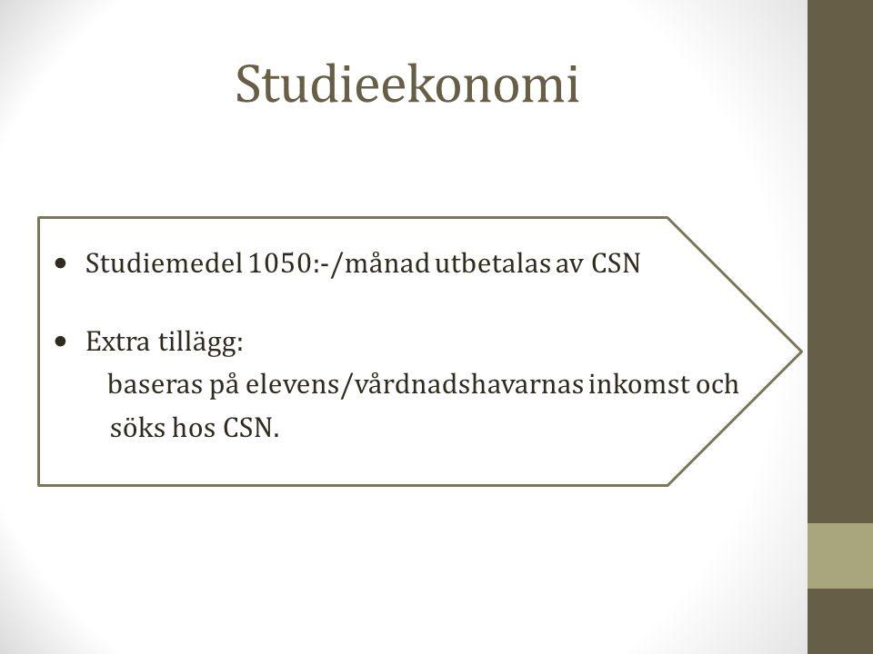 Studieekonomi Studiemedel 1050:-/månad utbetalas av CSN Extra tillägg: