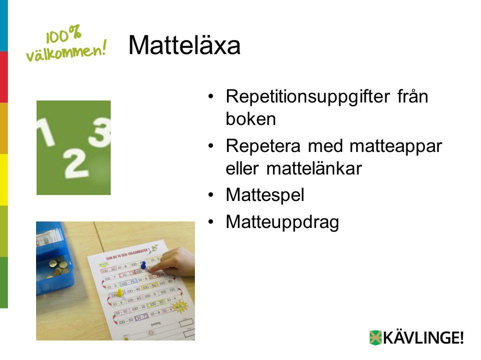 Matteläxa Repetitionsuppgifter från boken