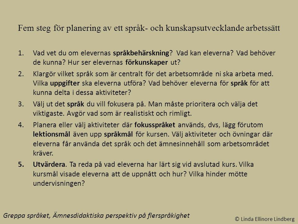 Fem steg för planering av ett språk- och kunskapsutvecklande arbetssätt