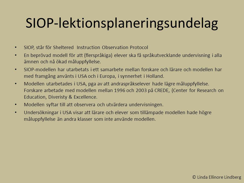 SIOP-lektionsplaneringsundelag
