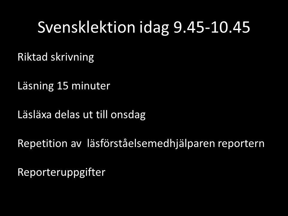 Svensklektion idag 9.45-10.45