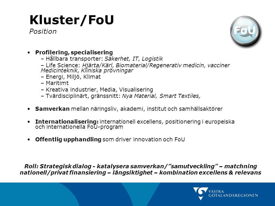 Kluster/FoU Position FoU Profilering, specialisering