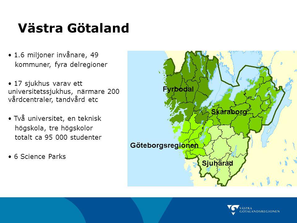 Västra Götaland 1.6 miljoner invånare, 49 kommuner, fyra delregioner