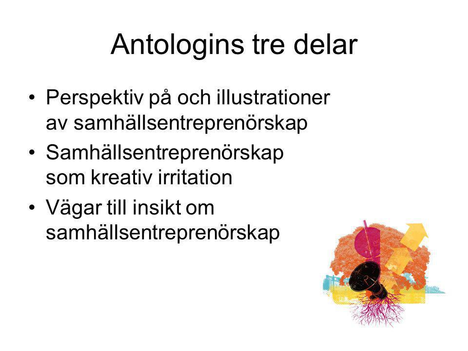 Antologins tre delar Perspektiv på och illustrationer av samhällsentreprenörskap. Samhällsentreprenörskap som kreativ irritation.