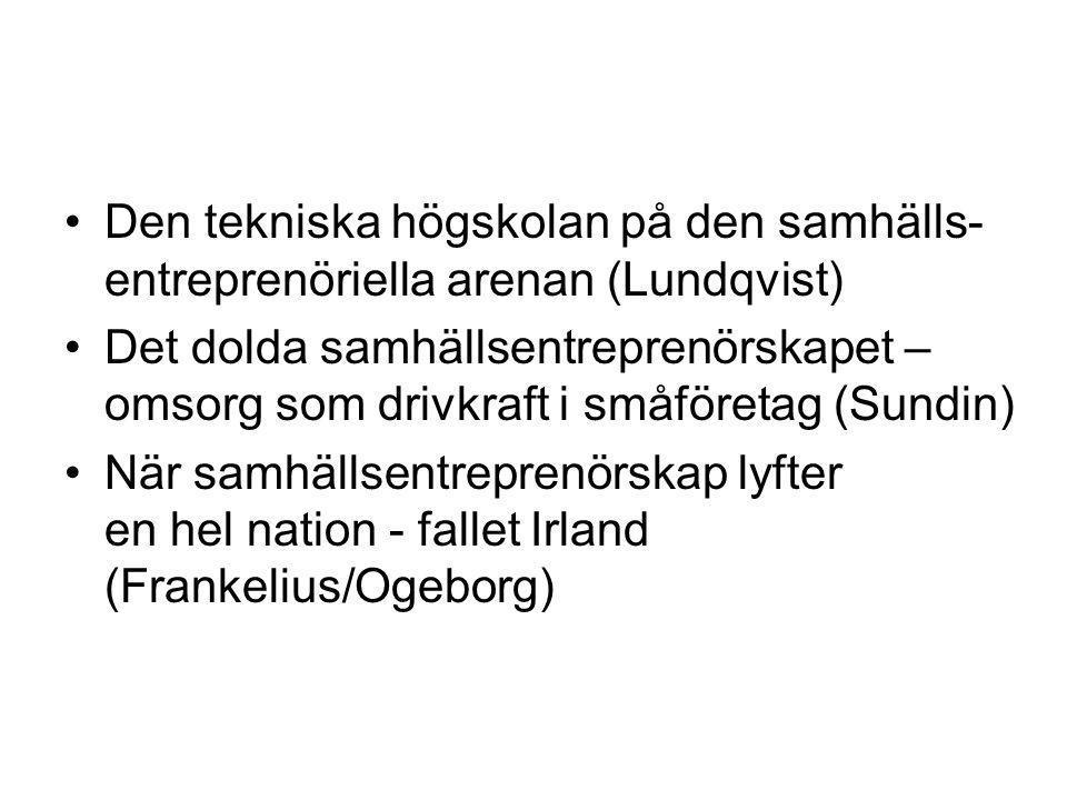 Den tekniska högskolan på den samhälls-entreprenöriella arenan (Lundqvist)