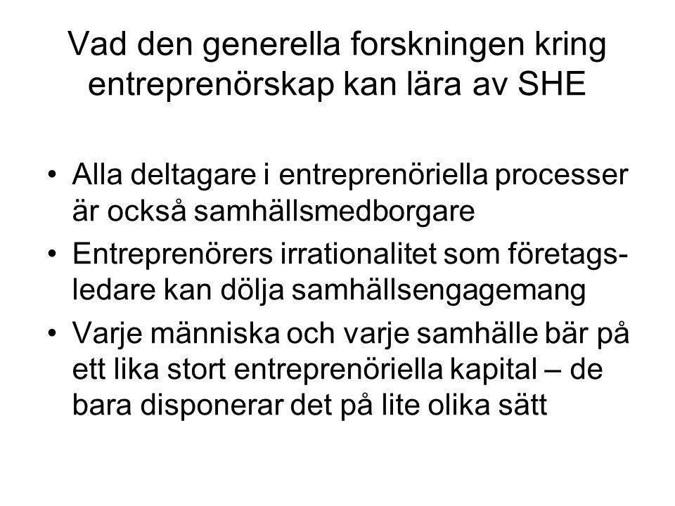 Vad den generella forskningen kring entreprenörskap kan lära av SHE