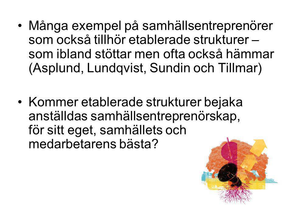 Många exempel på samhällsentreprenörer som också tillhör etablerade strukturer – som ibland stöttar men ofta också hämmar (Asplund, Lundqvist, Sundin och Tillmar)