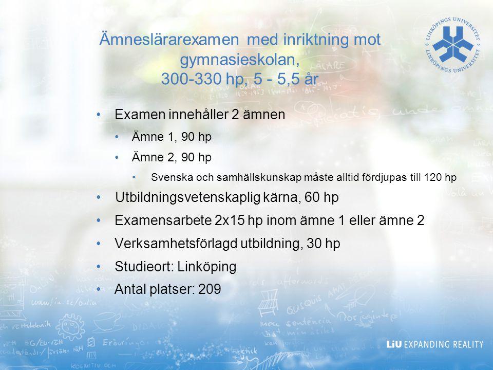 Ämneslärarexamen med inriktning mot gymnasieskolan, 300-330 hp, 5 - 5,5 år