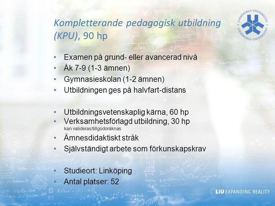 Kompletterande pedagogisk utbildning (KPU), 90 hp