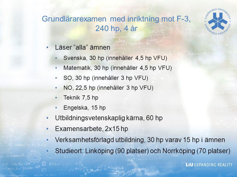 Grundlärarexamen med inriktning mot F-3, 240 hp, 4 år
