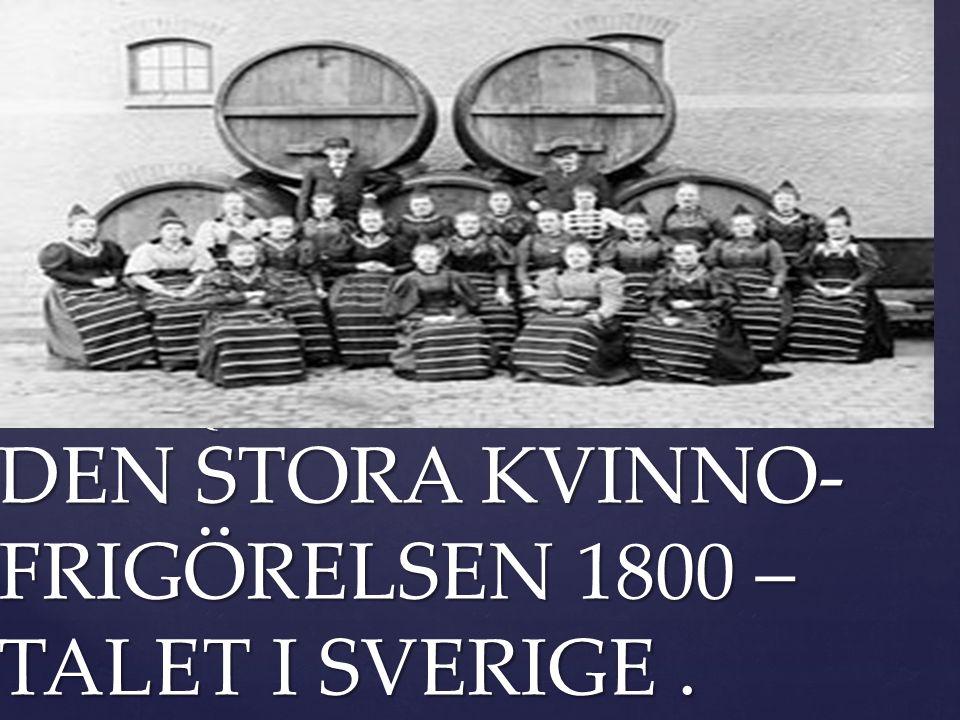 DEN STORA KVINNO- FRIGÖRELSEN 1800 – TALET I SVERIGE .