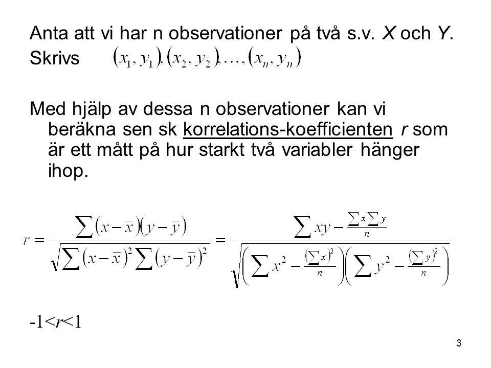Anta att vi har n observationer på två s.v. X och Y.