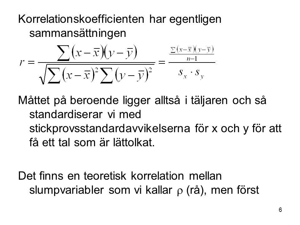 Korrelationskoefficienten har egentligen sammansättningen