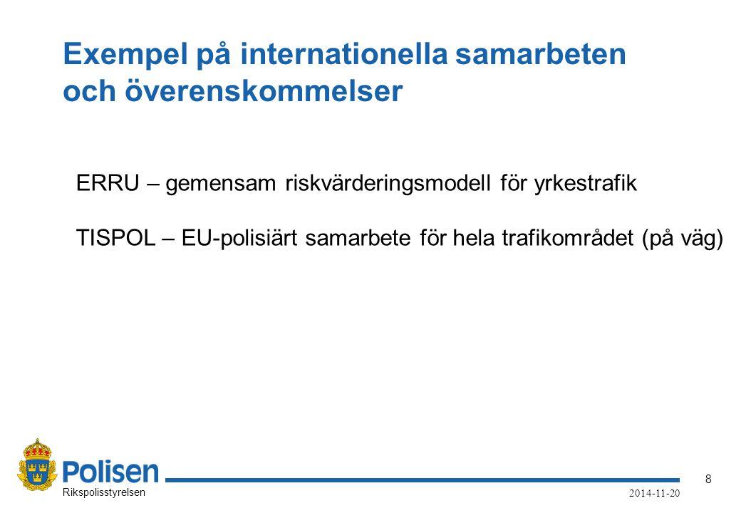 Exempel på internationella samarbeten och överenskommelser
