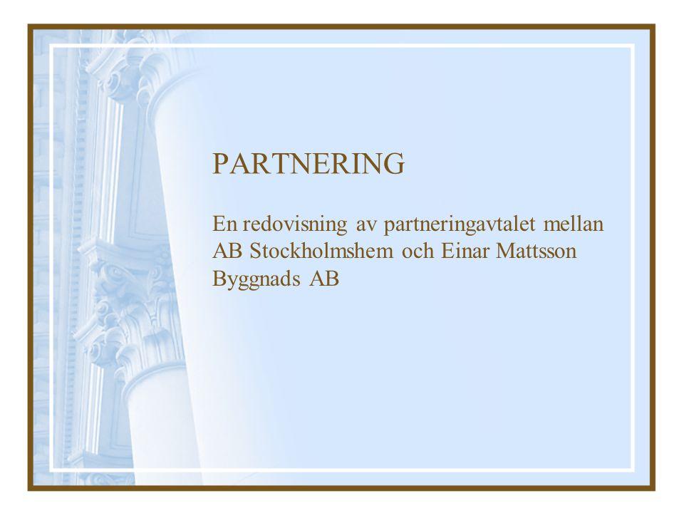 PARTNERING En redovisning av partneringavtalet mellan AB Stockholmshem och Einar Mattsson Byggnads AB.