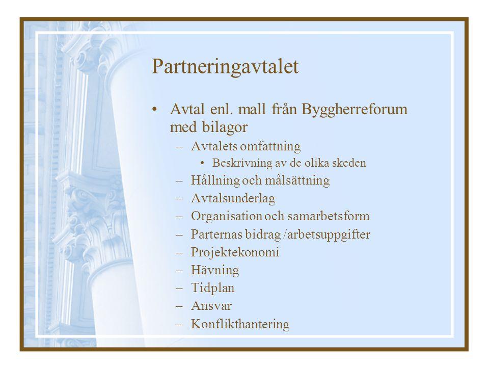 Partneringavtalet Avtal enl. mall från Byggherreforum med bilagor