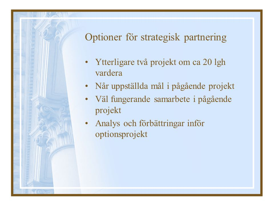 Optioner för strategisk partnering