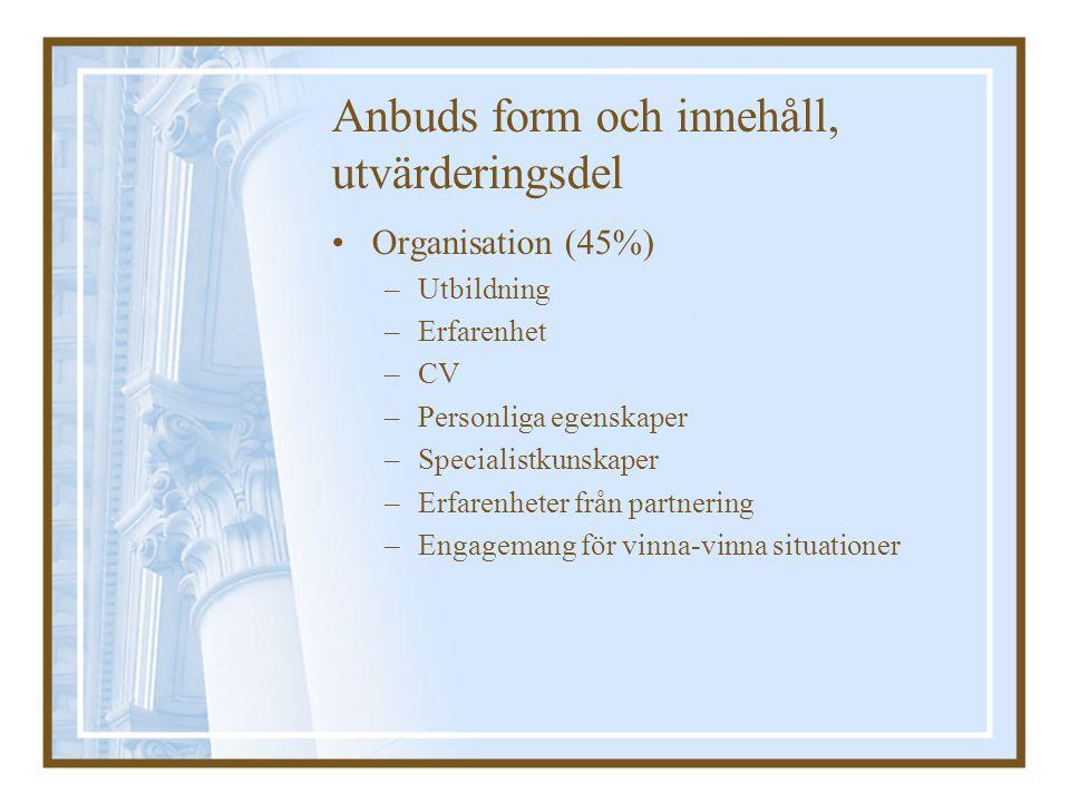 Anbuds form och innehåll, utvärderingsdel