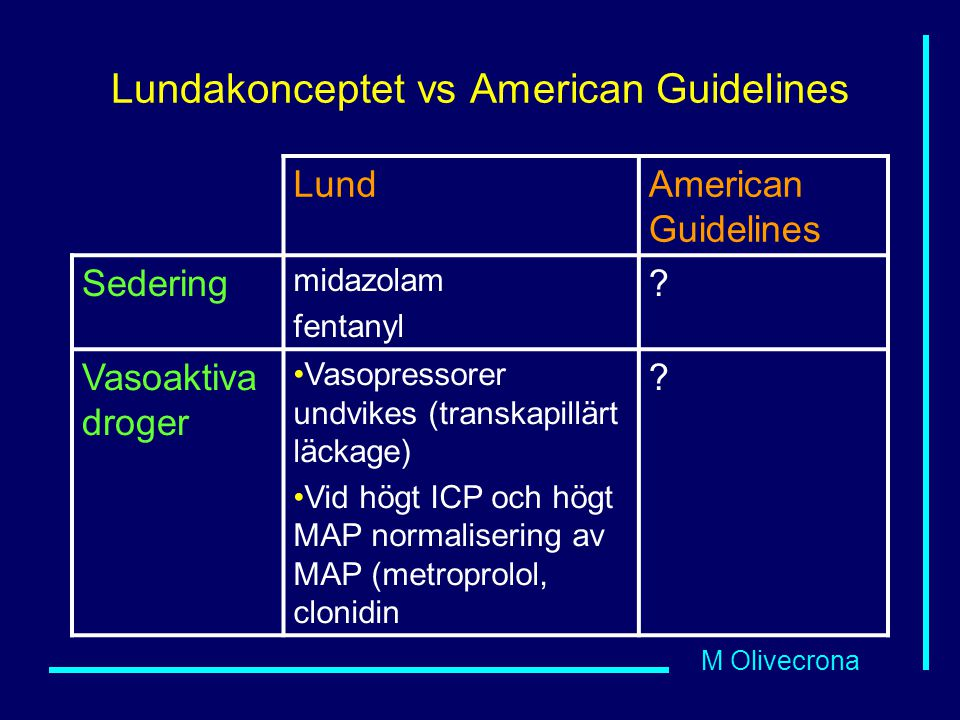 Lundakonceptet vs American Guidelines