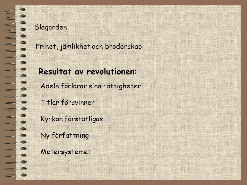Resultat av revolutionen: