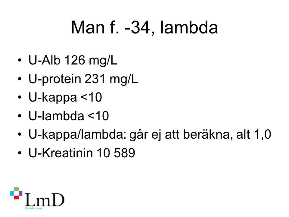 Man f. -34, lambda U-Alb 126 mg/L U-protein 231 mg/L U-kappa <10