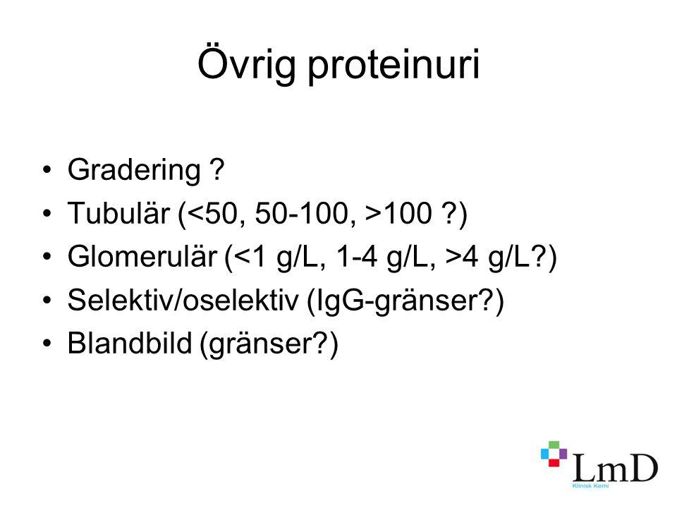 Övrig proteinuri Gradering Tubulär (<50, 50-100, >100 )