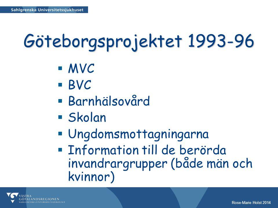 Göteborgsprojektet 1993-96 MVC BVC Barnhälsovård Skolan
