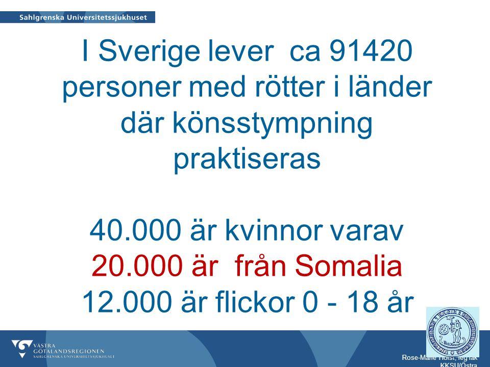 I Sverige lever ca 91420 personer med rötter i länder där könsstympning praktiseras 40.000 är kvinnor varav 20.000 är från Somalia 12.000 är flickor 0 - 18 år