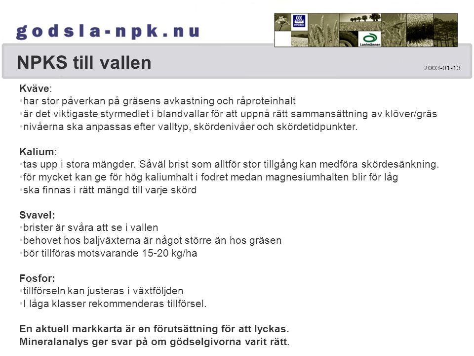 NPKS till vallen Kväve: