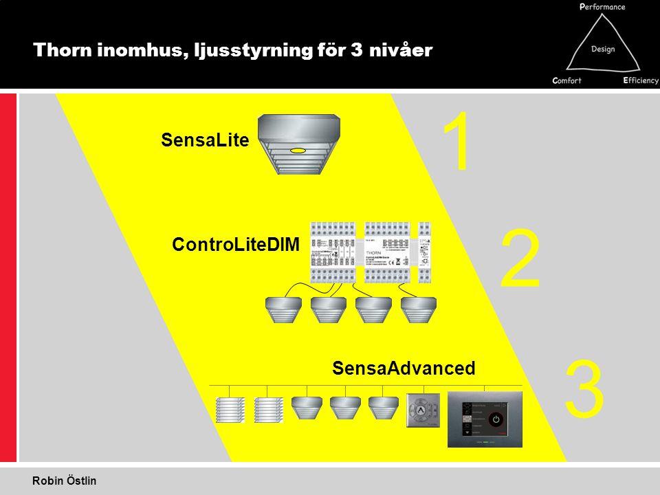 Thorn inomhus, ljusstyrning för 3 nivåer