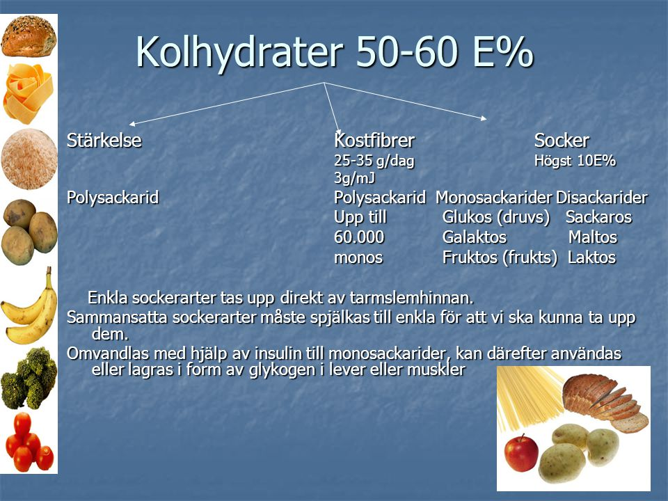 Kolhydrater 50-60 E% Stärkelse Kostfibrer Socker