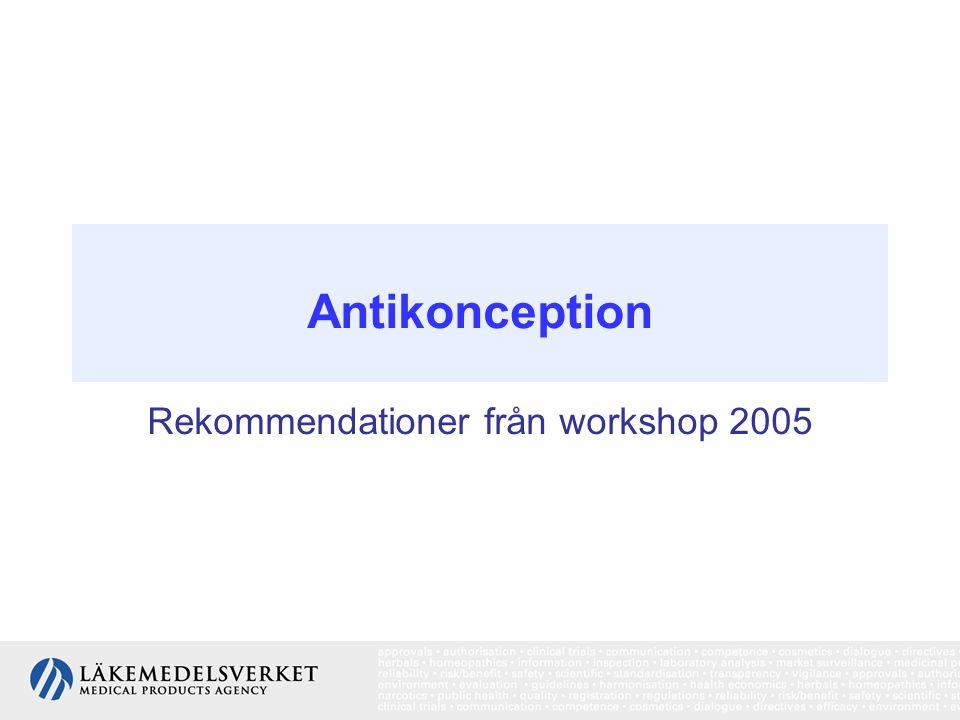 Rekommendationer från workshop 2005