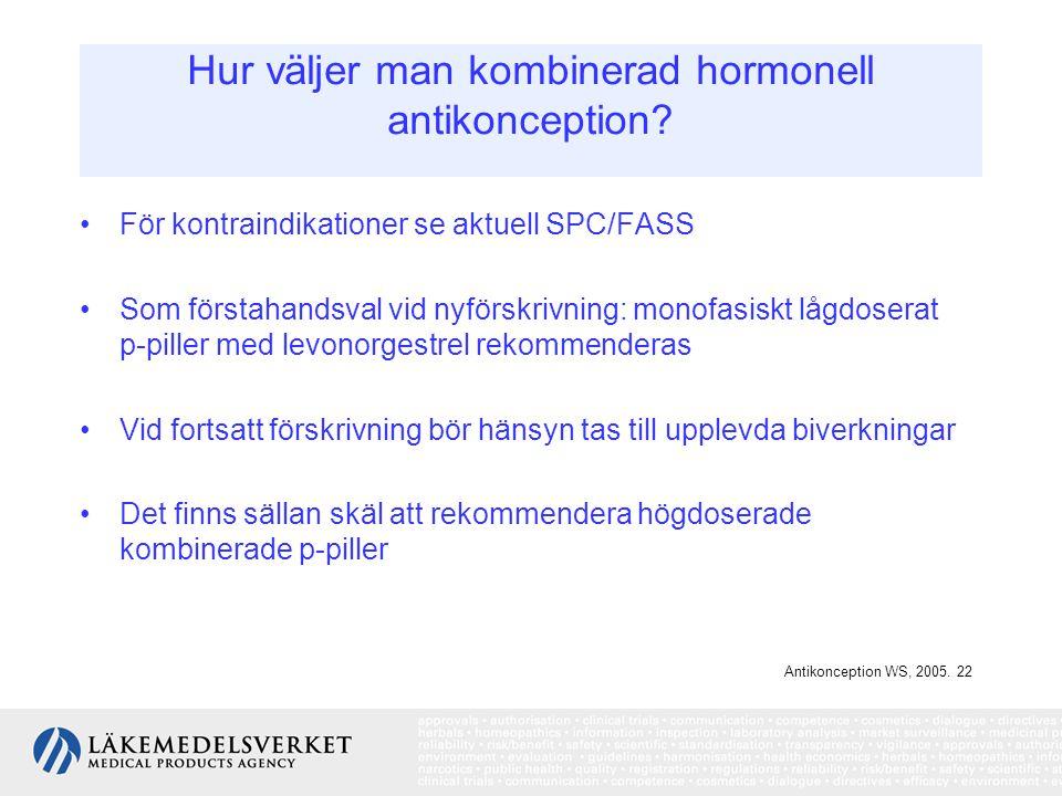 Hur väljer man kombinerad hormonell antikonception