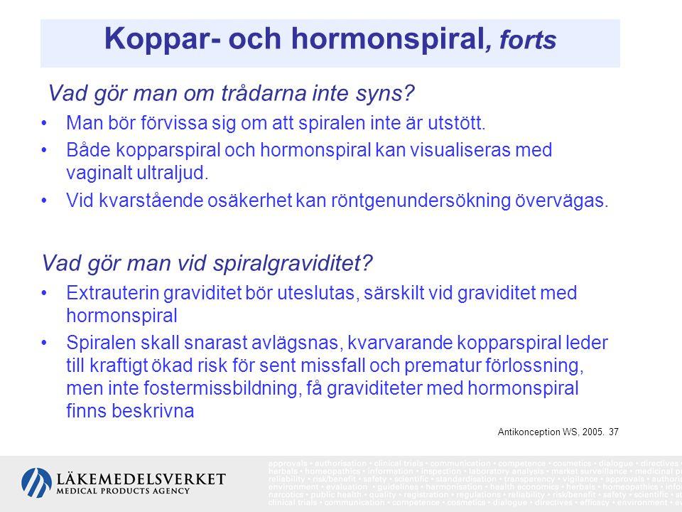 Koppar- och hormonspiral, forts