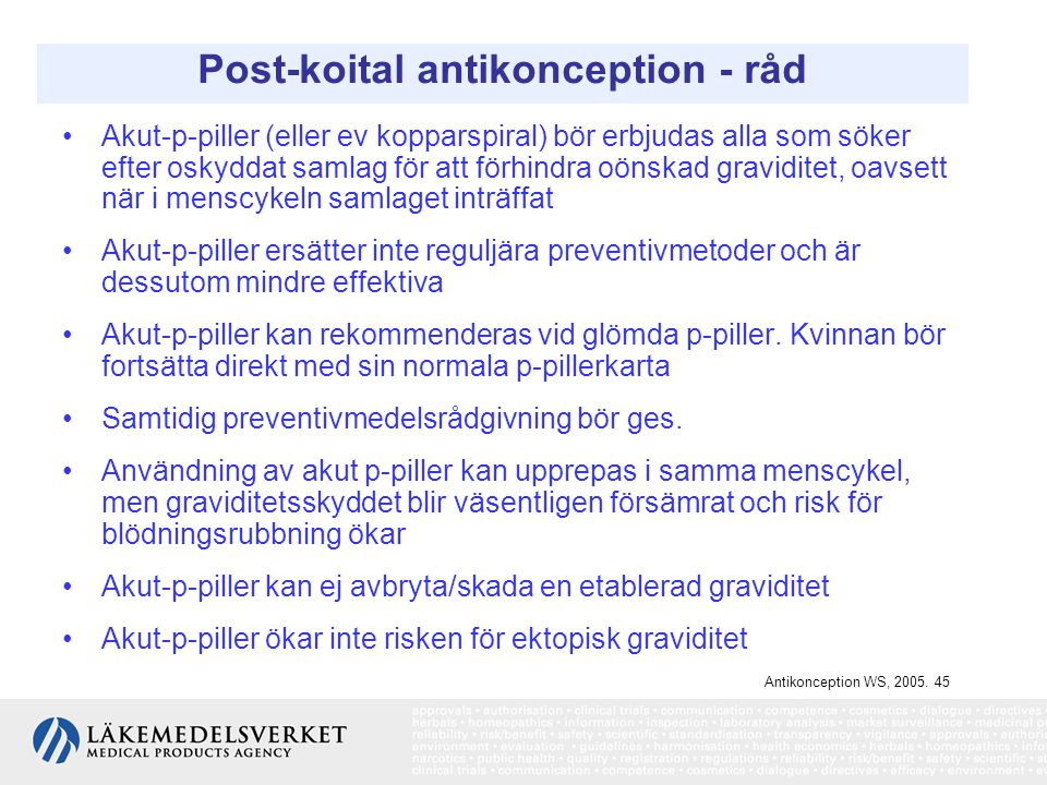 Post-koital antikonception - råd