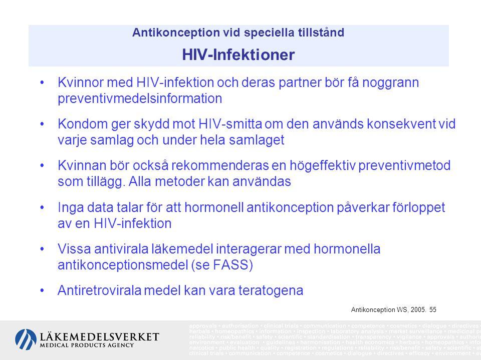 Antikonception vid speciella tillstånd HIV-Infektioner