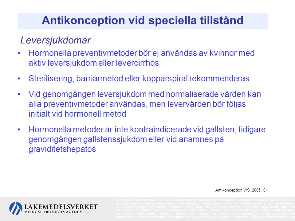 Antikonception vid speciella tillstånd