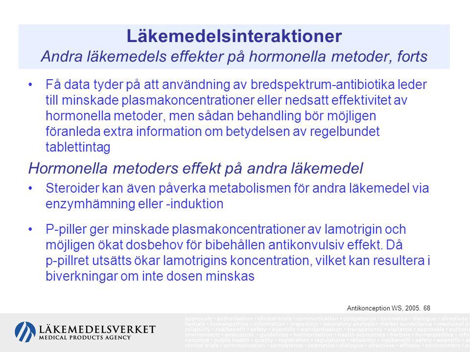 Läkemedelsinteraktioner Andra läkemedels effekter på hormonella metoder, forts