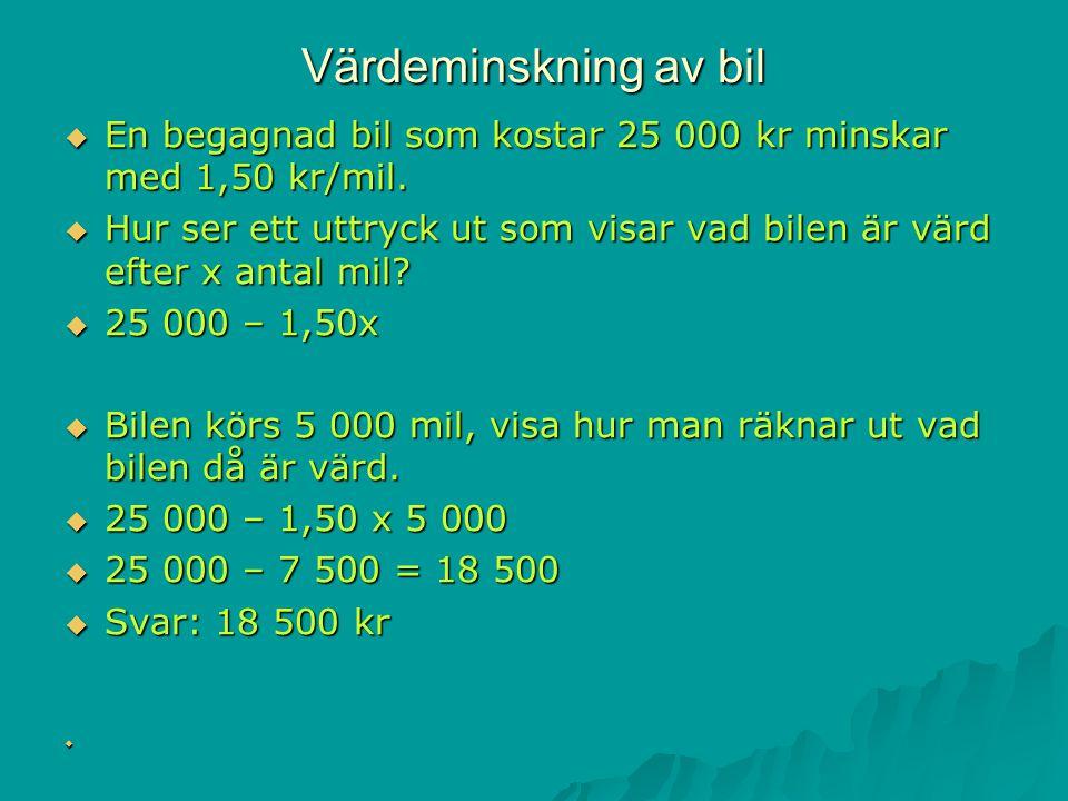 Värdeminskning av bil En begagnad bil som kostar 25 000 kr minskar med 1,50 kr/mil.
