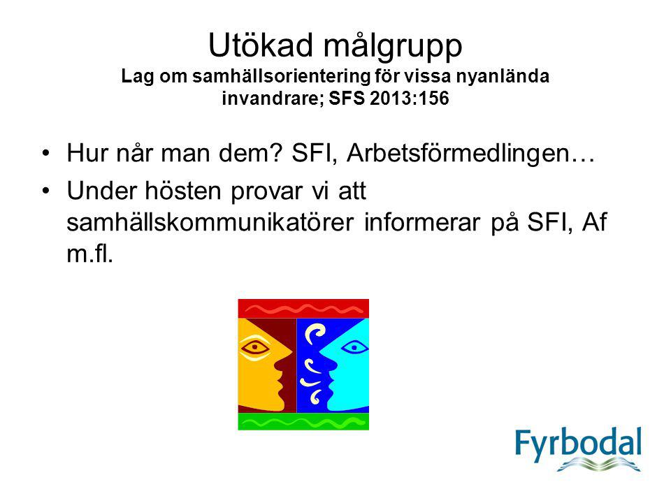 Utökad målgrupp Lag om samhällsorientering för vissa nyanlända invandrare; SFS 2013:156