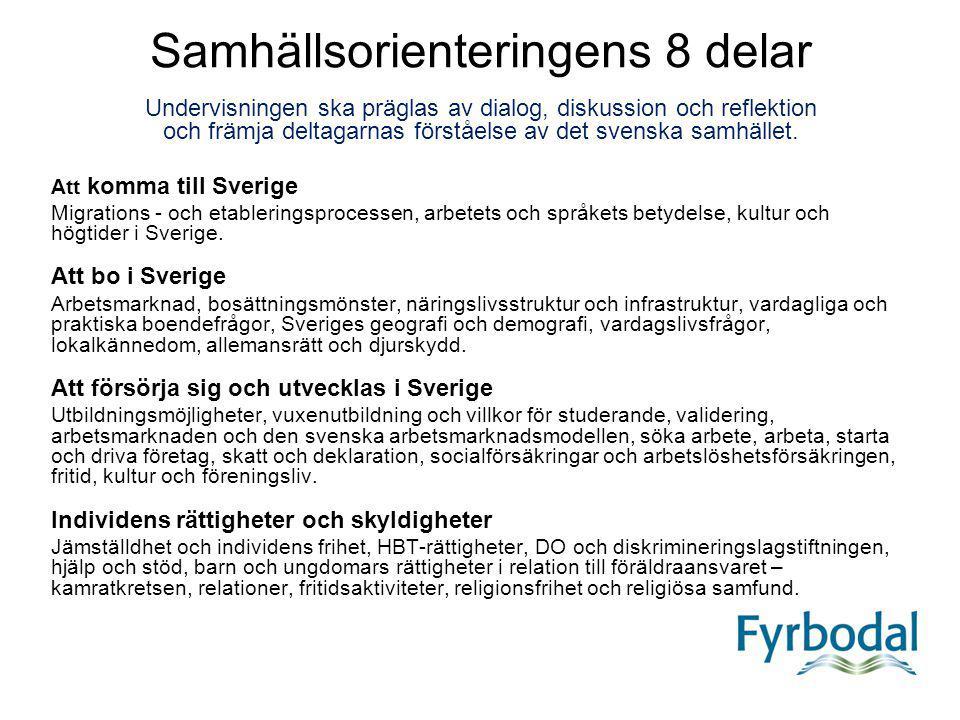 Samhällsorienteringens 8 delar Undervisningen ska präglas av dialog, diskussion och reflektion och främja deltagarnas förståelse av det svenska samhället.