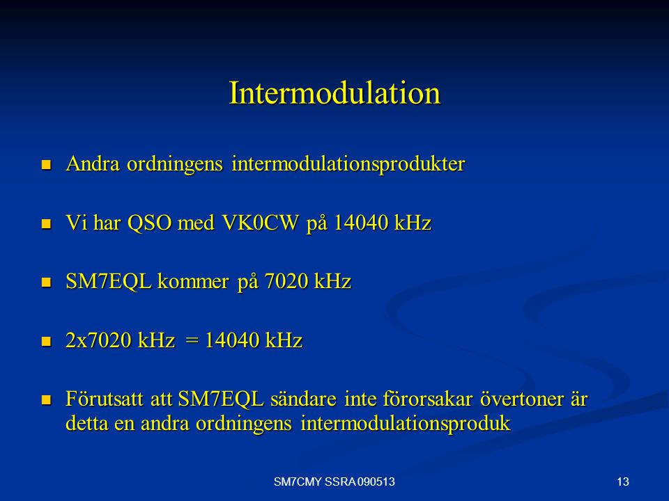Intermodulation Andra ordningens intermodulationsprodukter