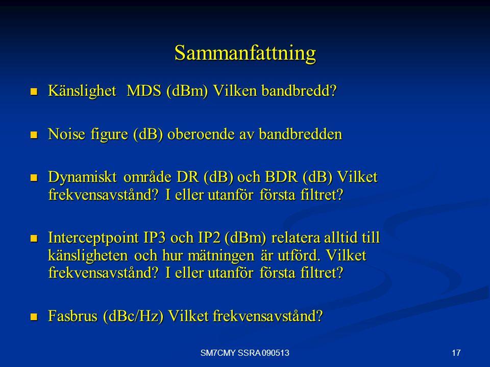 Sammanfattning Känslighet MDS (dBm) Vilken bandbredd