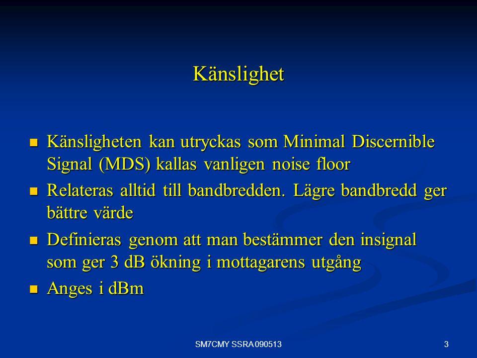 Känslighet Känsligheten kan utryckas som Minimal Discernible Signal (MDS) kallas vanligen noise floor.