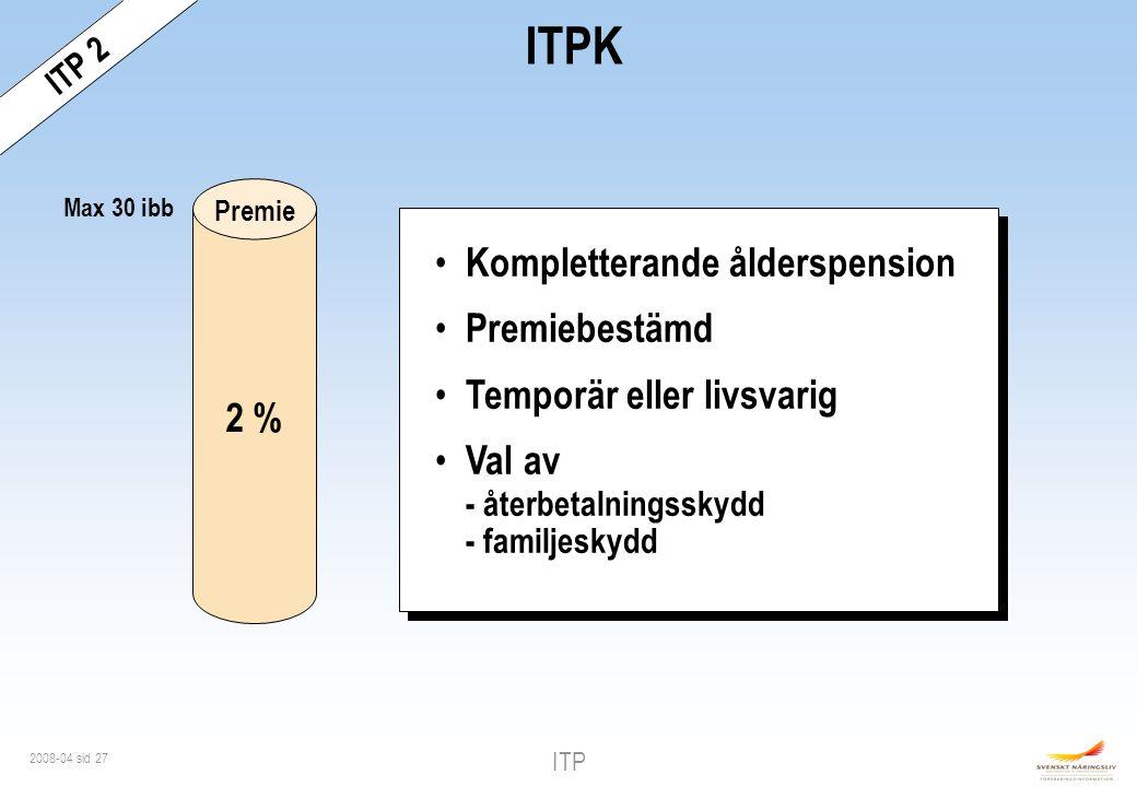ITPK Kompletterande ålderspension Premiebestämd 2 %