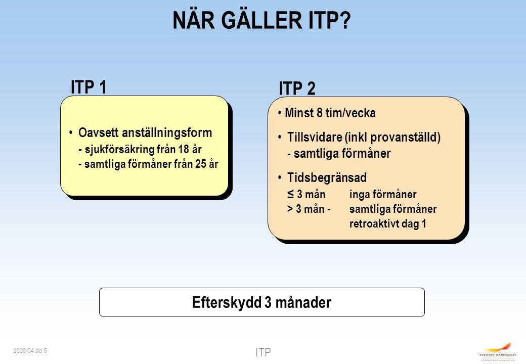 NÄR GÄLLER ITP ITP 1 ITP 2 Efterskydd 3 månader Minst 8 tim/vecka