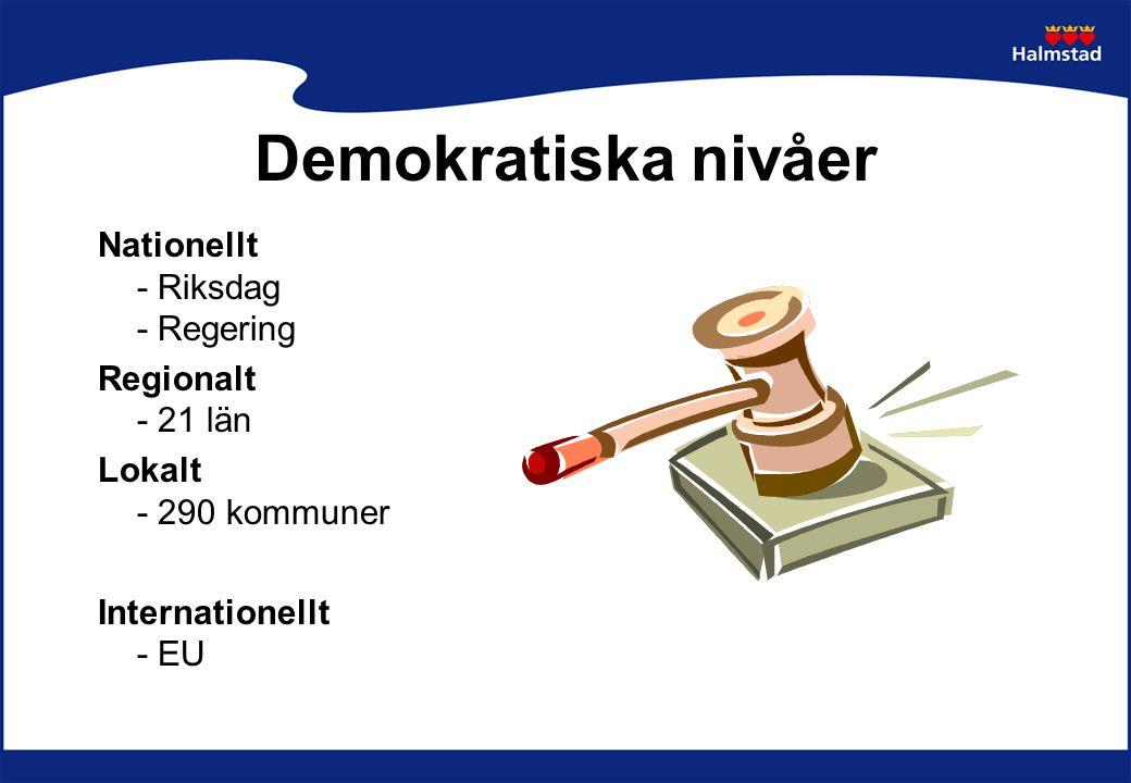 Demokratiska nivåer Nationellt - Riksdag - Regering Regionalt - 21 län